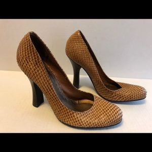 BCBGirls Brown Faux Snakeskin High Heels Size 5.5